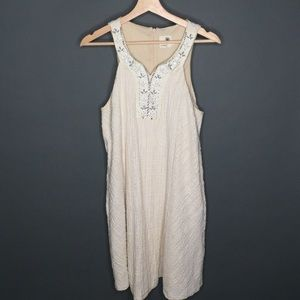 Carleigh Beaded Textured Cream Shift Dress Medium